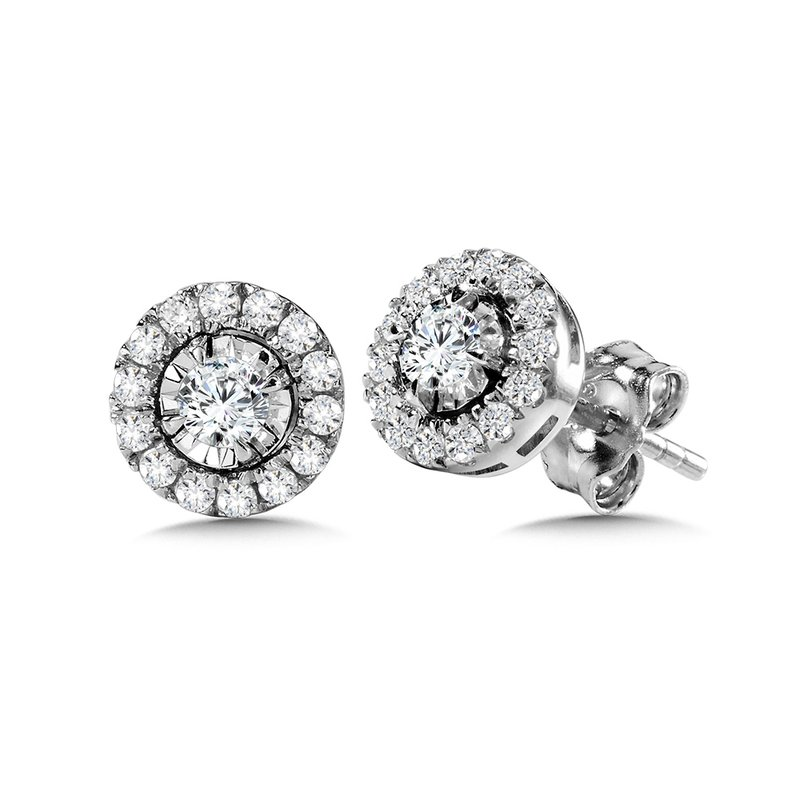 SDC Creations Diamond Star Round Halo Studs