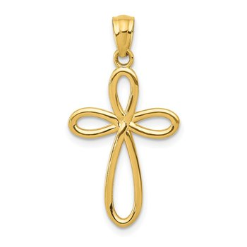 14k Yellow Gold Ribbon Cross Pendant