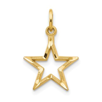 14k Diamond-cut Star Charm