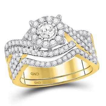 10kt Yellow Gold Womens Round Diamond Contoured Bridal Wedding Engagement Ring Band Set 1.00 Cttw