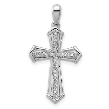 Sterling Silver Rhodium-plated Diamond Cross Pendant