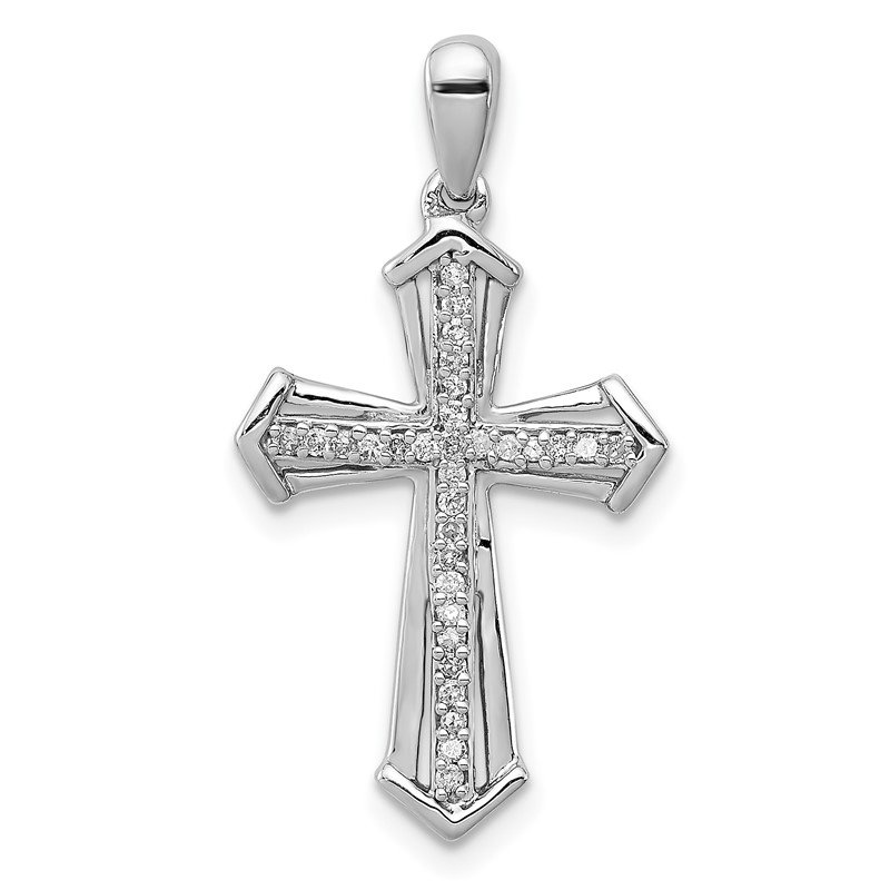 Quality Gold Sterling Silver Rhodium-plated Diamond Cross Pendant