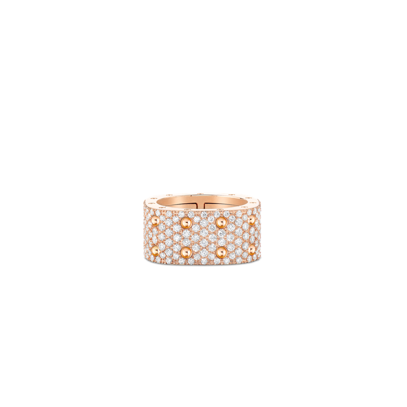 Roberto Coin 2 Row Square Ring With Diamonds &Ndash; 18K Rose Gold, 5