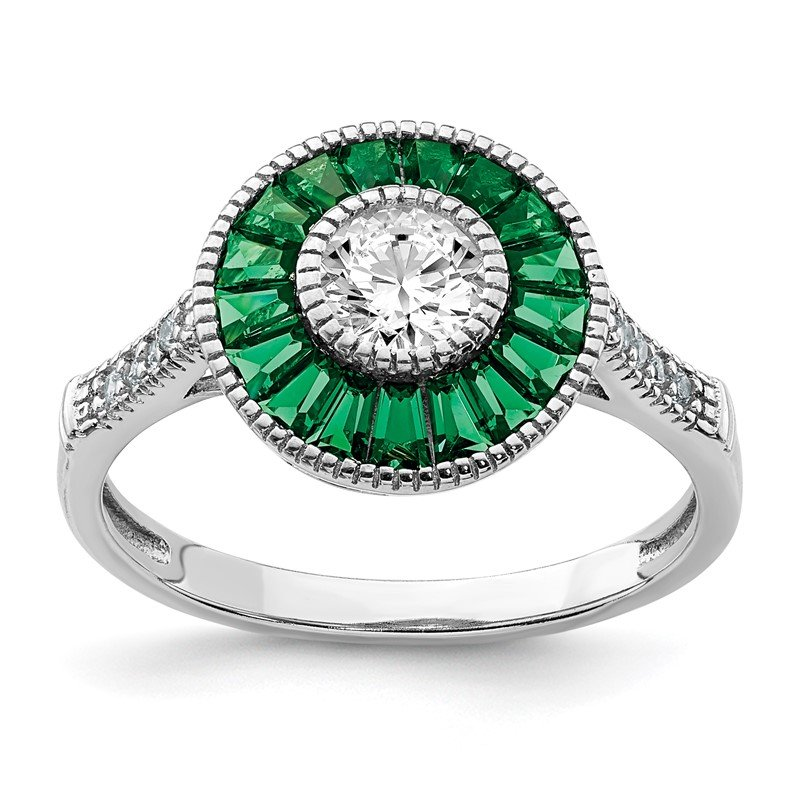Quality Gold Sterling Silver Rhodium-plated Synthetic Green Spinel and CZ Ring