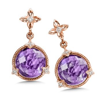 Amethyst & Diamond Earrings in 14K Rose Gold