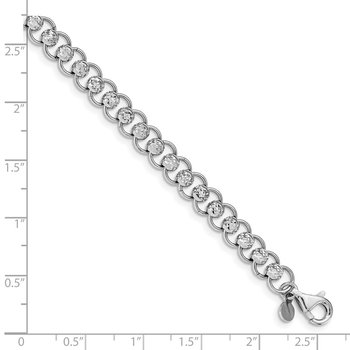 Sterling Silver Rhodium-plated D/C Beads and Circles Bracelet