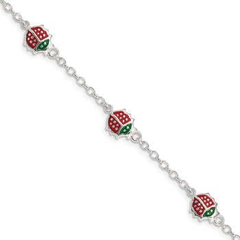 Sterling Silver Red Enamel Ladybugs Childs 5in Plus 1in ext Bracelet