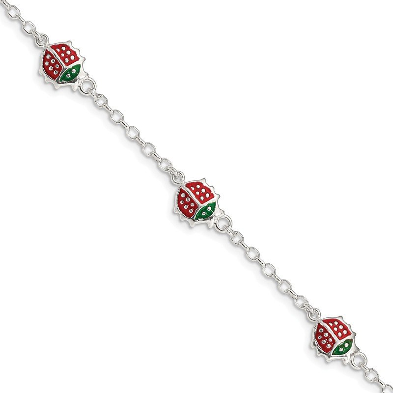 Quality Gold Sterling Silver Red Enamel Ladybugs Childs Bracelet