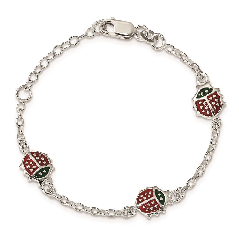 Quality Gold Sterling Silver Red Enamel Ladybugs Childs 5in Plus 1in ext Bracelet