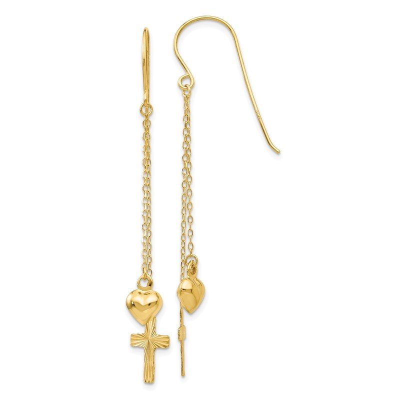 Quality Gold 14K Ropa Chain Puffed Heart and Diamond Cut Cross Dangle Earrings