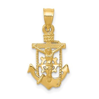 14k Polished Mariner Crucifix Pendant