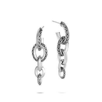 Classic Chain Knife Edge Drop Earring in Silver