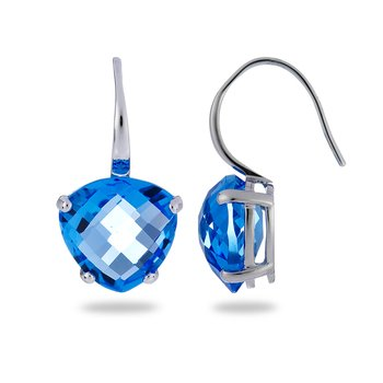 14K WG Heart Shape Chequered Cut Blue Topaz Ear Rings