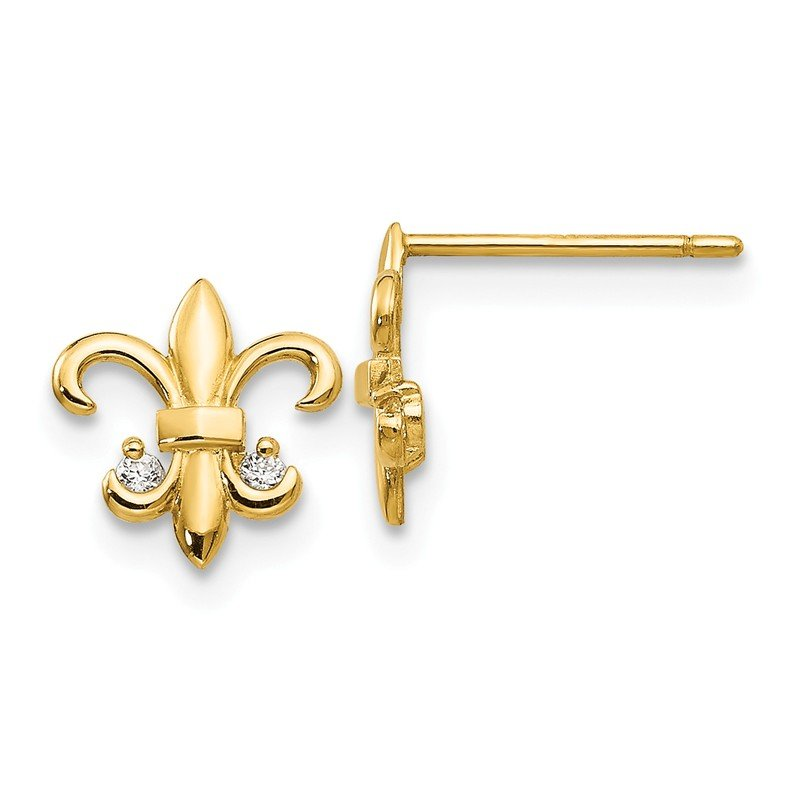 Quality Gold 14k Madi K CZ Fleur de lis Post Earrings