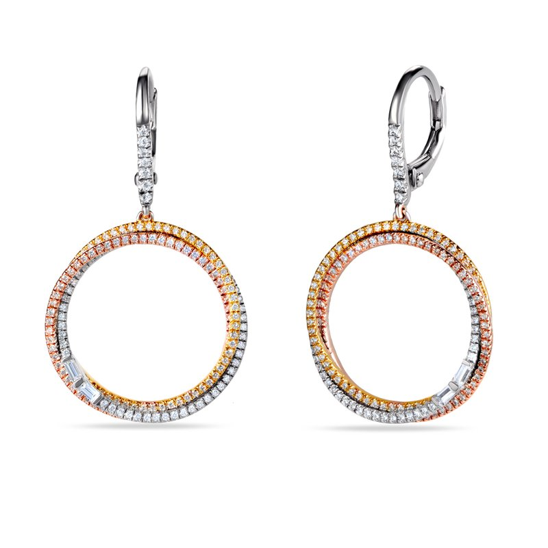 Shula NY 14K Tri Color Round Drop Earrings. 294 Diamonds 0.98CT