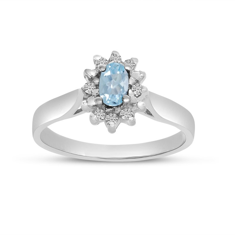 Color Merchants 10k White Gold Oval Aquamarine And Diamond Ring
