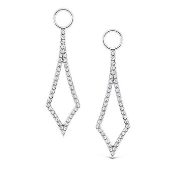Diamond Earring Charms in 14k White Gold with 96 Diamonds weighing .20ct tw