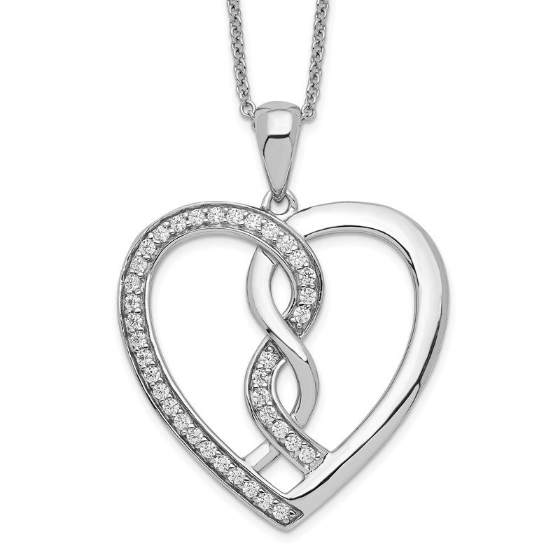 Fine Jewelry by JBD Sterling Silver CZ Hearts Joined Together 18in Necklace
