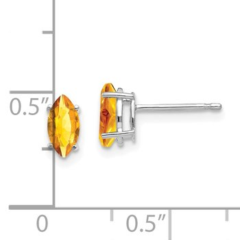 14k White Gold 7x3.5mm Marquise Citrine earring