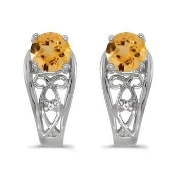 10k White Gold Round Citrine And Diamond Earrings
