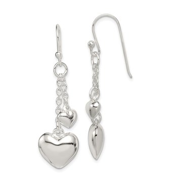 Sterling Silver Puffed Heart Shepherd Hook Earrings