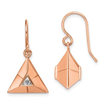 Sterling Silver Rose Gold-plated Triangular Origami CZ Dangle Earrings