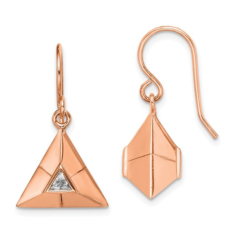 Quality Gold Sterling Silver Rose Gold-plated Triangular Origami CZ Dangle Earrings