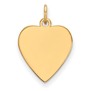 14k Plain .009 Gauge Heart Engravable Disc Charm