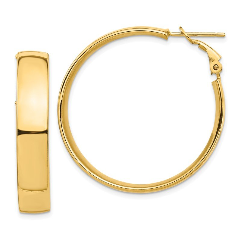Quality Gold 14k High Polished 7mm Omega Back Hoop Earrings