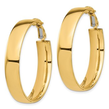 14k High Polished 7mm Omega Back Hoop Earrings