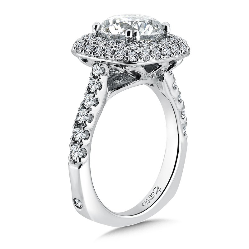 Caro74 Grand Opulance Collection Double Halo Engagement Ring with Side Stones in 14K White Gold (3 ct. tw.)