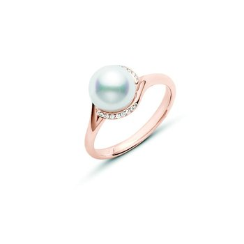 Twist Akoya Cultured Pearl Ring - Rose Gold