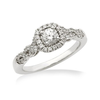 White gold & diamond round engagement