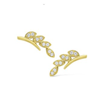 Diamond Leaf Ear Climbers Set in 14 Kt. Gold
