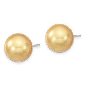 Sterling S Majestik Rh-pl 12-13mm Yellow Imitat Shell Pearl Stud Earrings