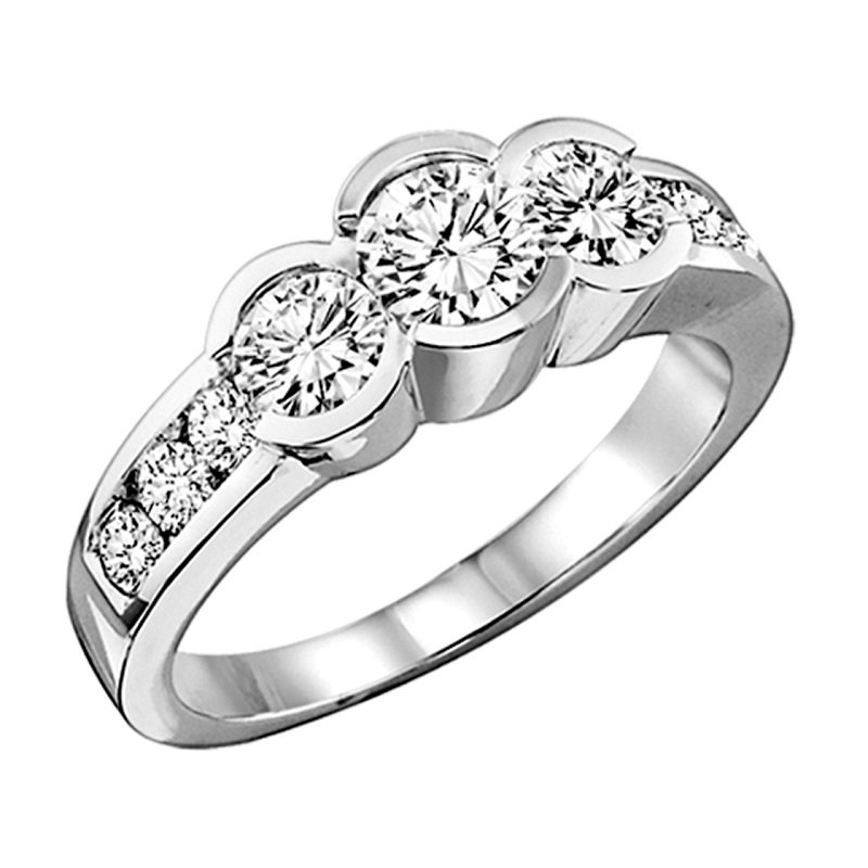 Bridal Bells 14K Diamond 3 Stone Plus Bezel Set Ring 1/2 ctw
