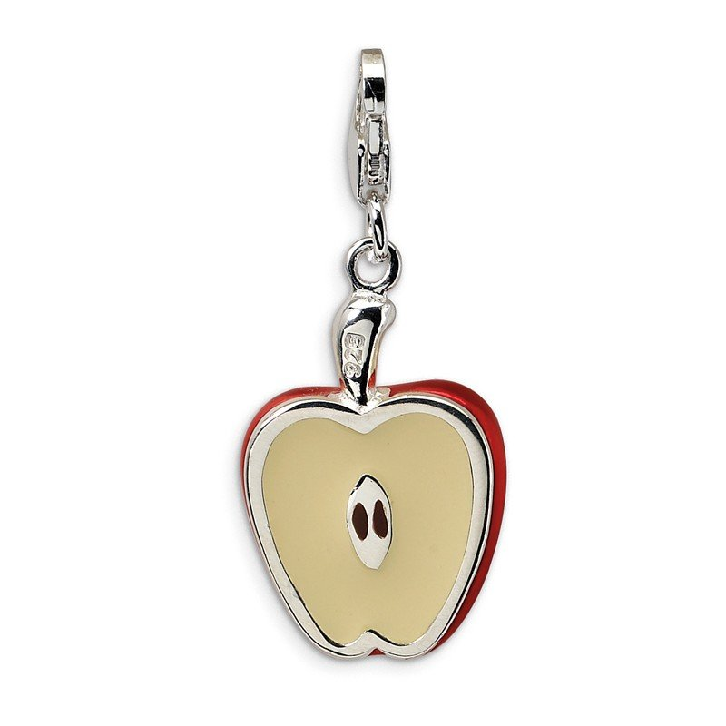 Quality Gold Sterling Silver 3-D Enameled Apple Half w/Lobster Clasp Charm