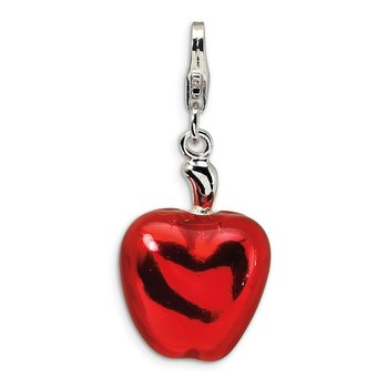 Sterling Silver 3-D Enameled Apple Half w/Lobster Clasp Charm
