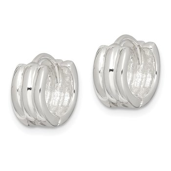 Sterling Silver Striped Hinged Hoop Earrings