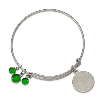 Silver-tone Brass Green Crystal Bangle Bracelet