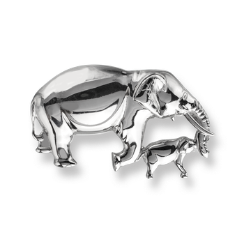 Sterling Silver Elephant Brooch -Polished.