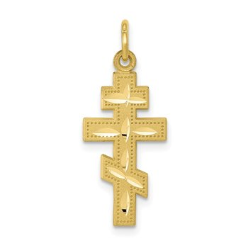 10k Solid Flat-Backed Eastern Orthodox Cross Pendant