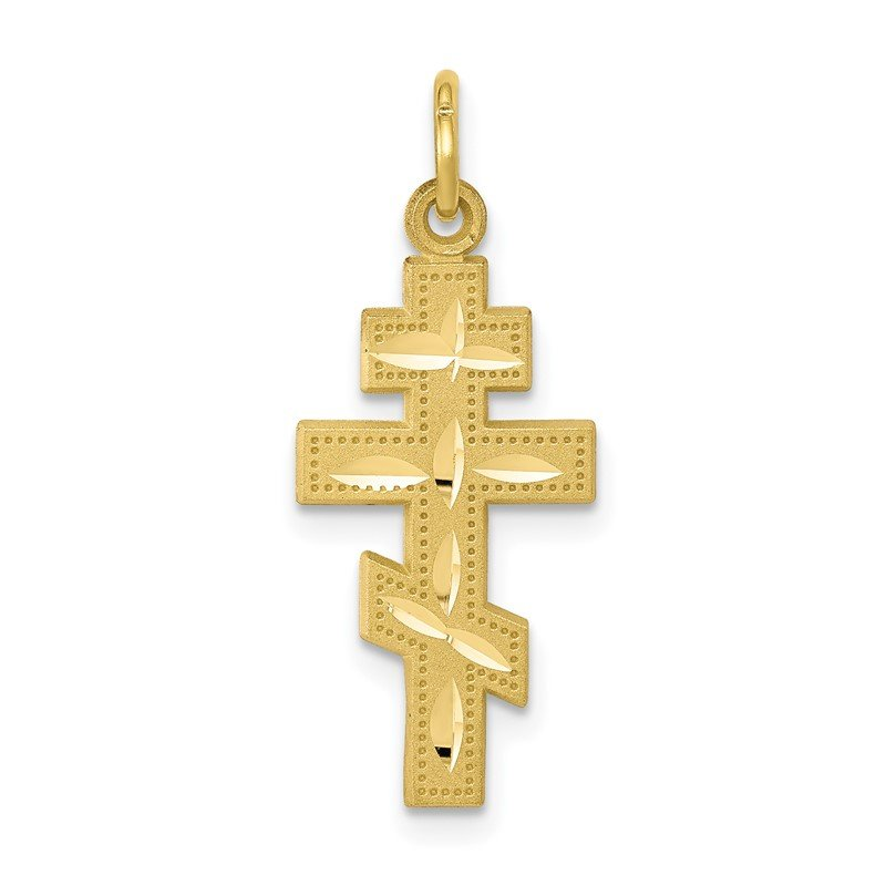 Quality Gold 10k Solid Flat-Backed Eastern Orthodox Cross Pendant