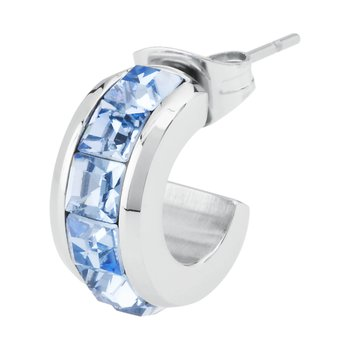 316L stainless steel and light sapphire Swarovski® Elements crystals.