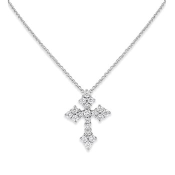 Diamond Cross Necklace in 14K White Gold with 19 Diamonds Weighing  .57ct tw