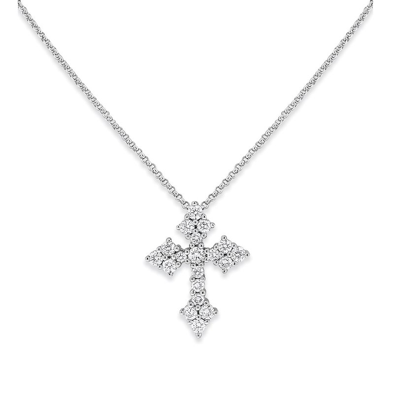 MAZZARESE Fashion Diamond Cross Necklace in 14K White Gold with 19 Diamonds Weighing  .57ct tw