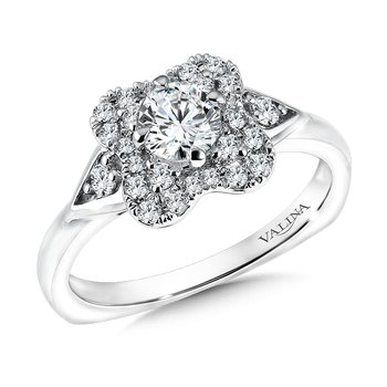 Floral shape halo .31 ct. tw., 1/2 ct. round center