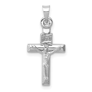 14k White Gold Hollow Crucifix Pendant