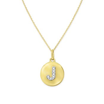 Diamond Uppercase Mini Disc Initial J Necklace