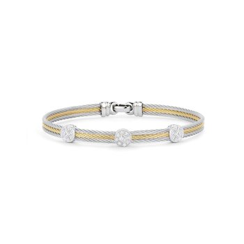 Grey Cable Classic Stackable Bracelet with Triple Round Station set in 18kt White Gold